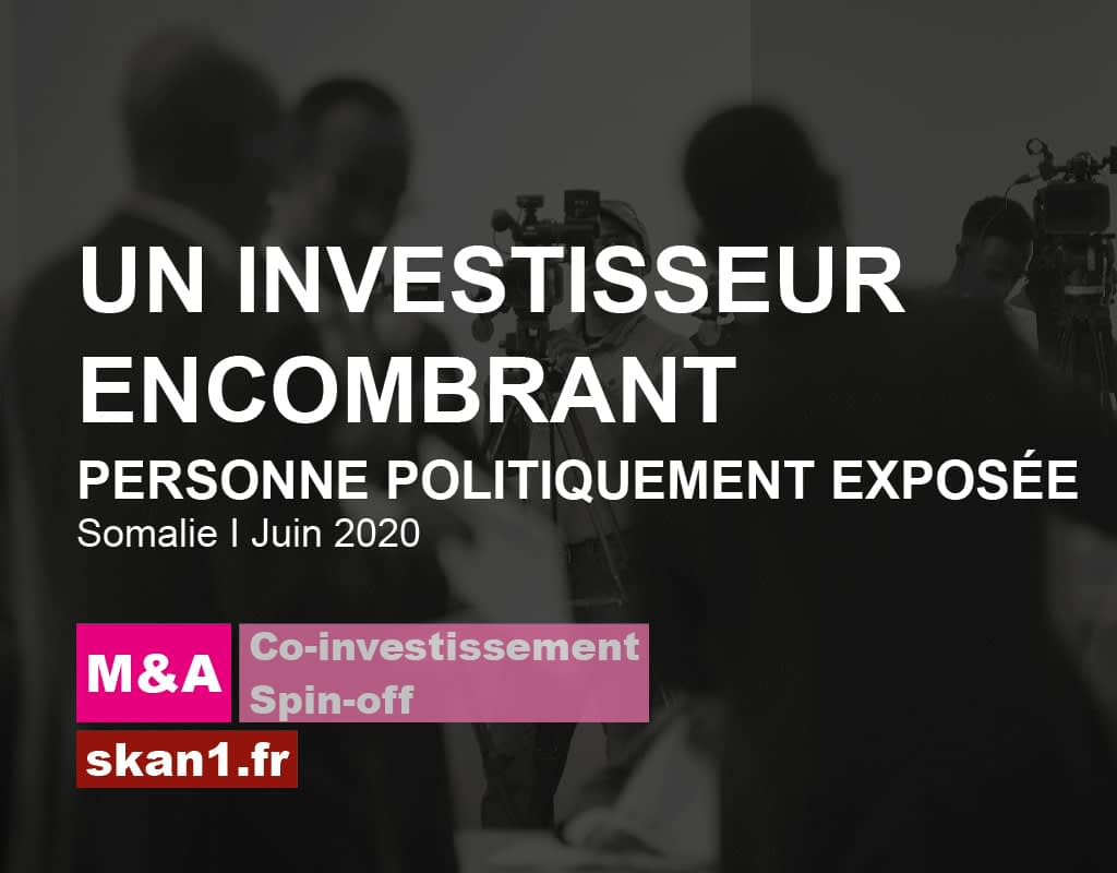 Exemple mission skan1 Evaluation Investigation Background Check Diligence Risque Integrite Conformite Ethique 013 M&A Investissement Spin Off Personne Politiquement Exposee Investisseur Encombrant Somalie